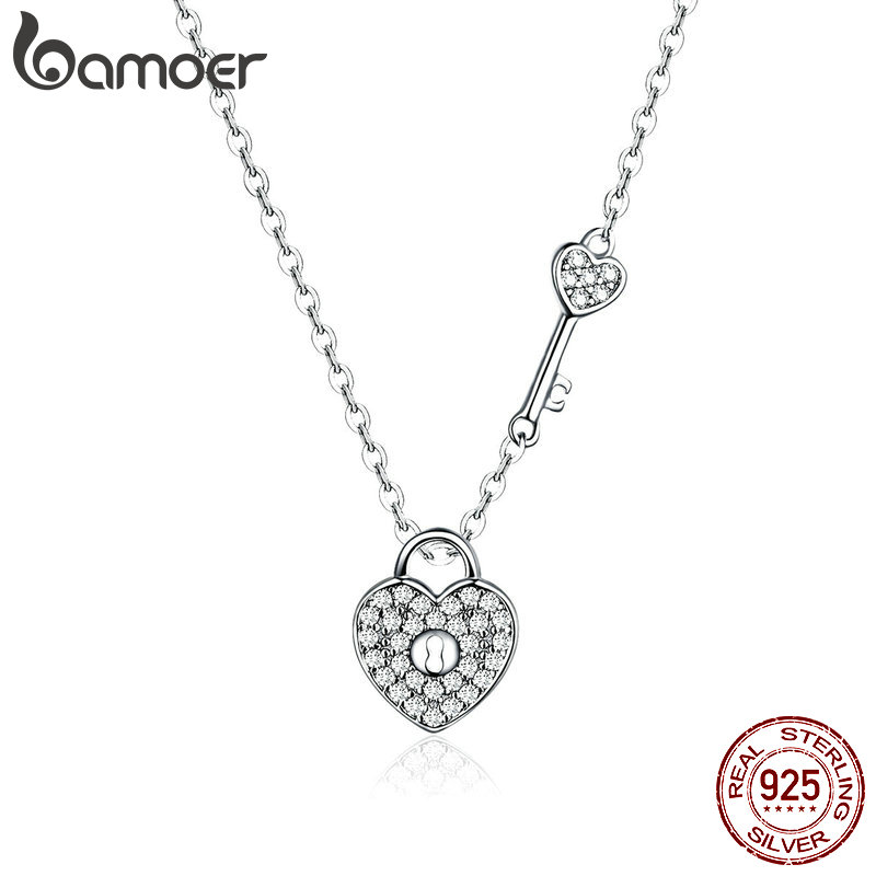 BAMOER Pure 925 Sterling Silver Clear CZ Heart Lock and Key Link Chain Choker Necklace for Innrech Market.com