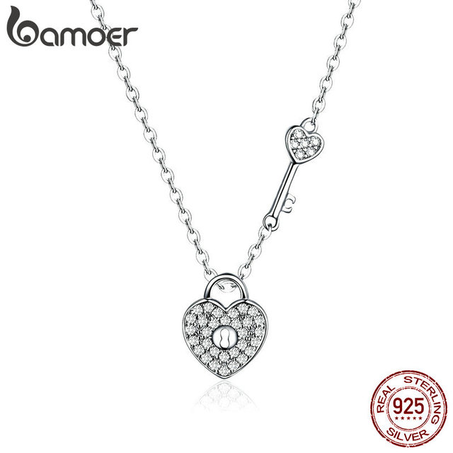 007c33aafd588 US $7.42 35% OFF|BAMOER Pure 925 Sterling Silver Clear CZ Heart Lock and  Key Link Chain Choker Necklace for Women Luxury Statement Jewelry SCN315-in  ...