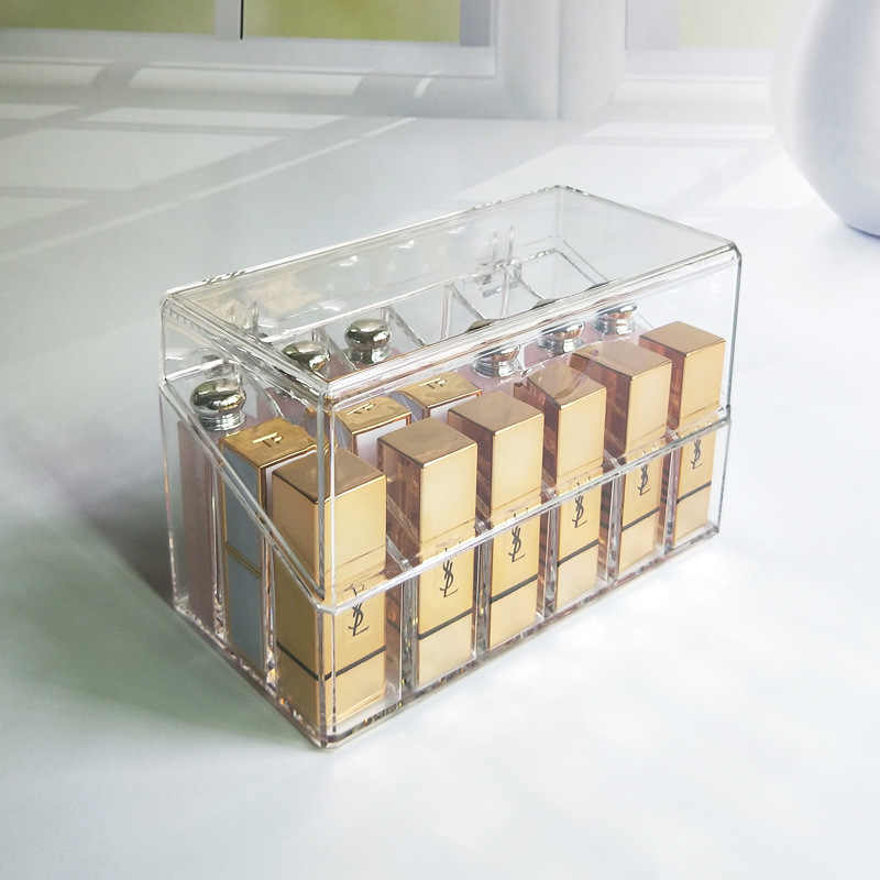 Clear Acrylic Makeup Organizer Lipstick Holder Dust-proof Cosmetic Storage Box Nail Polish Stand Rack Lip Gloss Holder Case