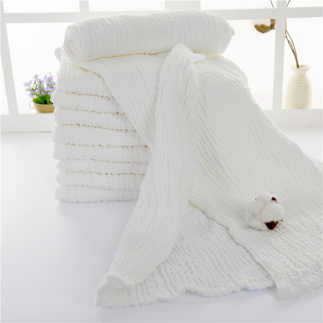 Natural White Baby Bath Towel 100% Cotton Ultra Soft Baby Gauze Towel Newborn Blanket Big Thick 10 Layers 110*110cm Breathable