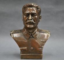 Copper Brass CHINESE crafts Asian 6 Elaborate Russian Leader Joseph Stalin Bust Bronze Statue sculpture