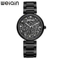 WEIQIN Colorful Rhinestone Women's Fashion Watches Stainless Steel Water Resistant Woman Bracelet Watch Ladies Quartz Wristwatch