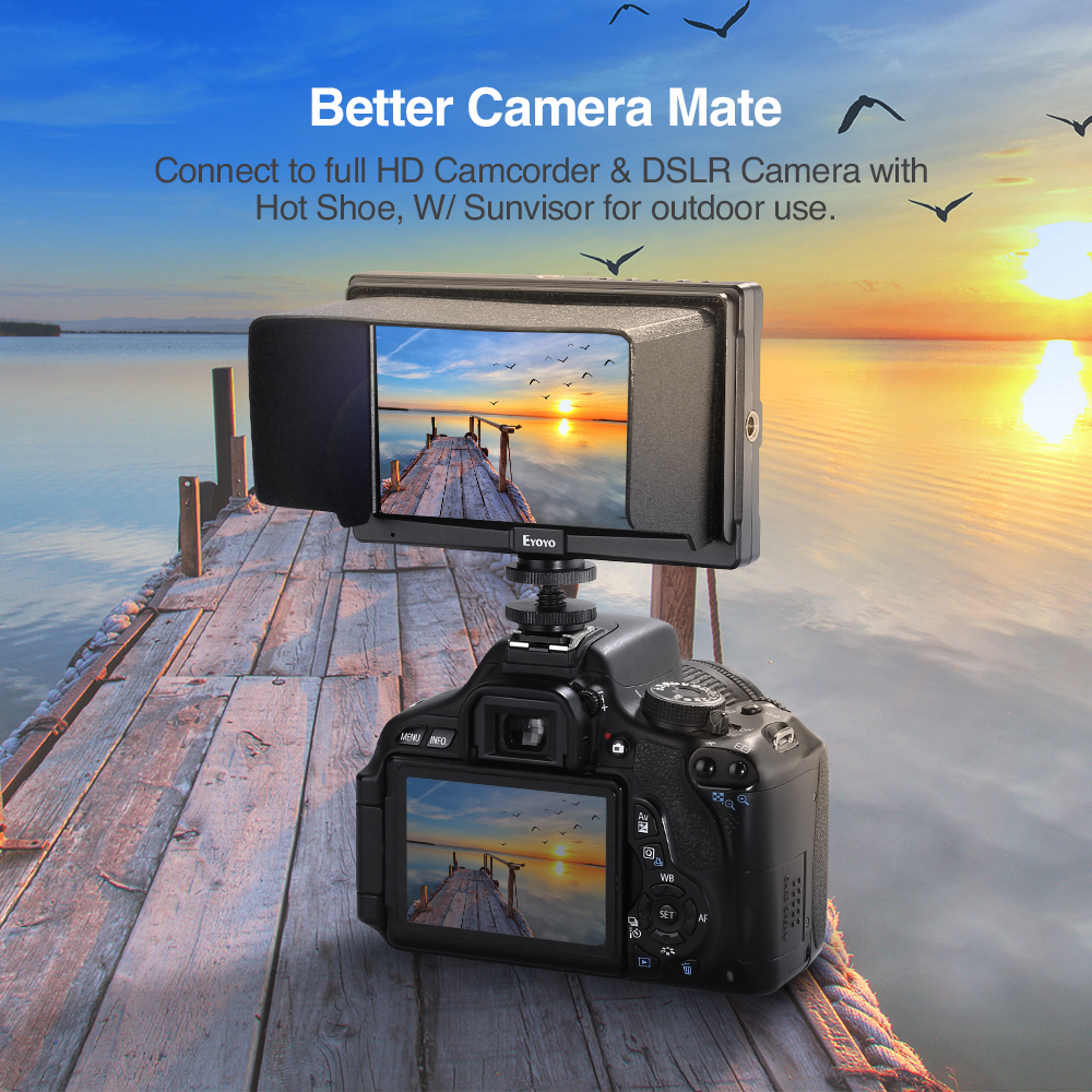 Image 2 - Eyoyo E5 5inch  4K HDMI DSLR Camera Field Monitor Ultra Bright 400cd/m2 Full HD 1920x1080 LCD IPS for Outdoors-in Monitor from Consumer Electronics