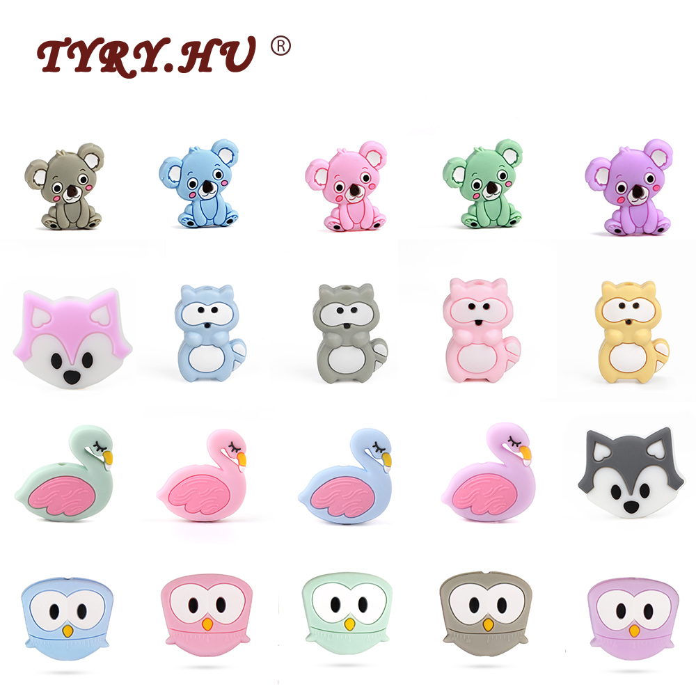 TYRY.HU 3pc/lot Mini Silicone Teether Food Grade BABY Teething Toy Pacifier Clip Chain Beads Accessories BPA Free Silicone Bead