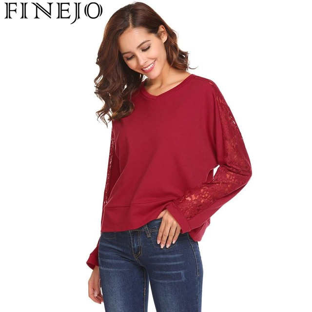 FINEJO Lace Hollow Out Patchwork Loose Sexy T-Shirt Women New Casual V-Neck Long  Sleeve Pullover tshirts Tops Camisa Feminina d8b4f51d6080