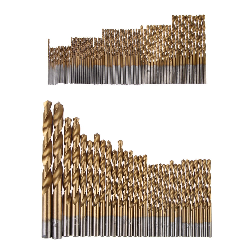 99Pcs Manual Twist Drill Bits 1.5mm - 10mm Titanium Coated Metal HSS High Speed Steel Twist Steel Brick Set Tools NG4S 13pcs lot hss high speed steel drill bit set 1 4 hex shank 1 5 6 5mm free shipping hss twist drill bits set for power tools