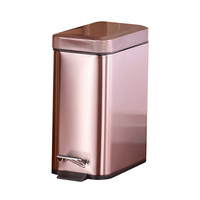 Hot Pedal Bin Household Trash Can Mute Stainless Steel Kitchen Trash Bin with Liner LFD