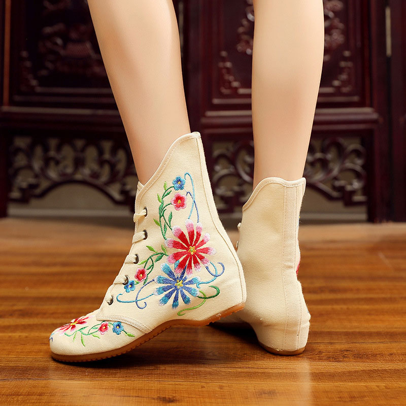 Image 5 - Veowalk Retro Women Embroidered Cotton Lace up Short Flat Boots,Autumn Ladies Casual Chinese Embroidery Shoes Comfort BootiesAnkle Boots   -