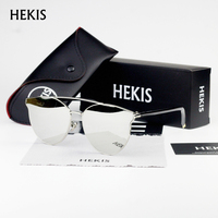 HEKIS Women Sunglasses Fashion Female Large Round Frame Brand Designer Retro Cat Eye Sun Glasses Woman