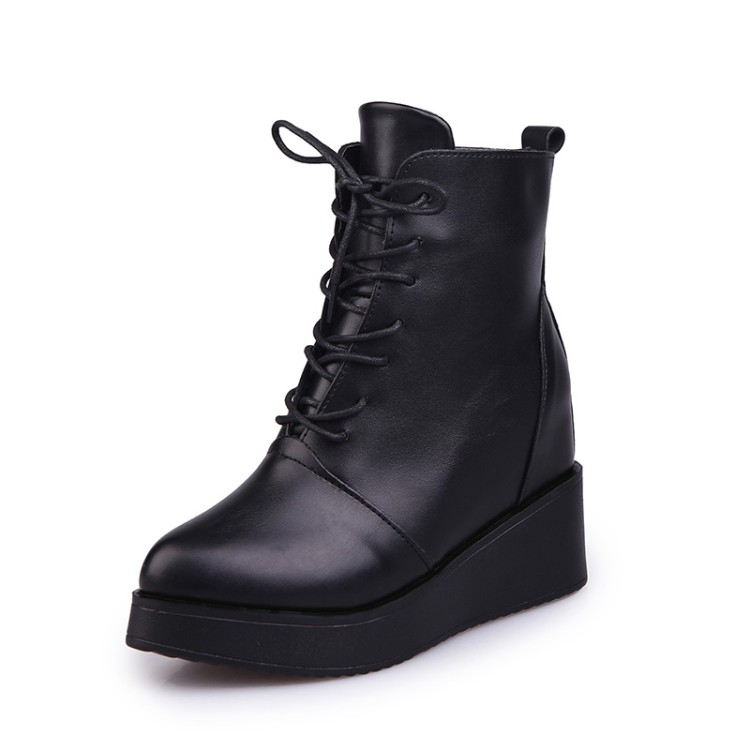 f939c0c7c6 US $33.8 |COOTELILI Botas Women Leather Motorcycle Ankle Boots Wedges  Female Lace Up Platforms Inside Increased Autumn Winter Shoes Woman-in  Ankle ...