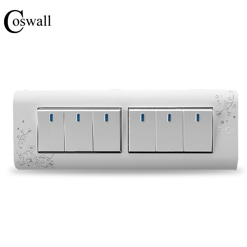 Free Shipping, Kempinski Luxury 6 Gang 2 Way Wall Switch, Ivory White, Brief Art Pattern, Light Switch, 197*72mm, AC 110~250V the ivory white european super suction wall mounted gate unique smoke door