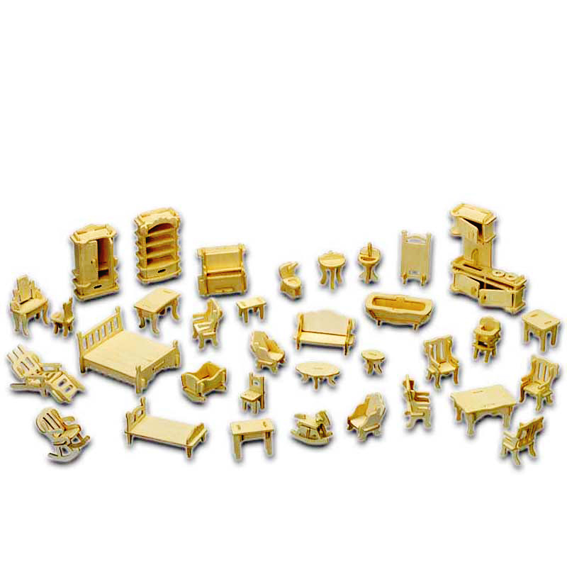 A Kids Toy Of 3d Wooden <font><b>Puzzle</b></font> 34 Pcs/set Miniature 1:12 Dollhouse Furniture For Dollsmini Diy Building Model For Children Gift