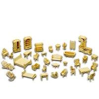 A Kids Toy Of 3d Wooden Puzzle 34 Pcs Set Miniature 1 12 Dollhouse Furniture For
