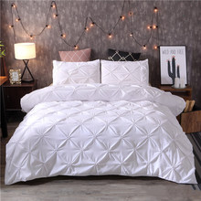 White Duvet Cover Set Pinch Pleat 2/3pcs Twin/Queen/King Size Bedclothes Bedding Sets Luxury Home Hotel Use(no filling no sheet)(China)