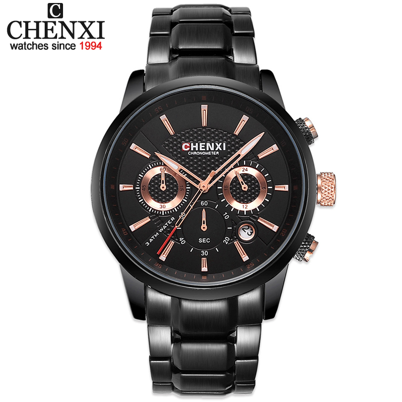 CHENXI Men New Watches Man Business Stainless Steel Quartz watch Fashion Multifunction Military Clock Relogio Masculino Gift new arrival iron man vintage quartz pocket watch with necklace chain pendant men women clock gift