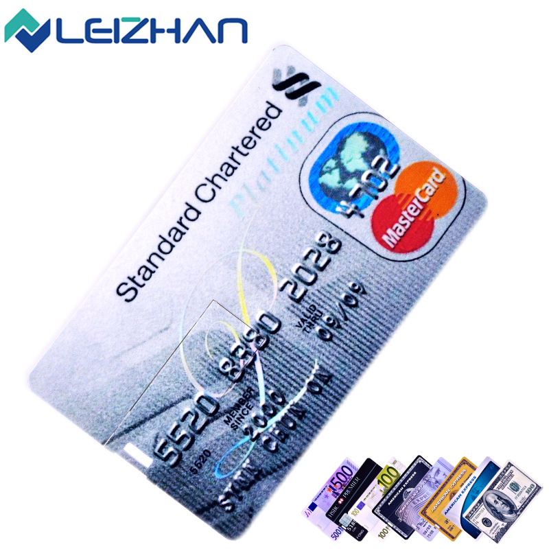 LEIZHAN USB Flash Drive Credit Card USB Stick 4G 8G 16G 32G Pen Drive USB 2.0 Memory U Disk Waterproof Storage Pendrive Device