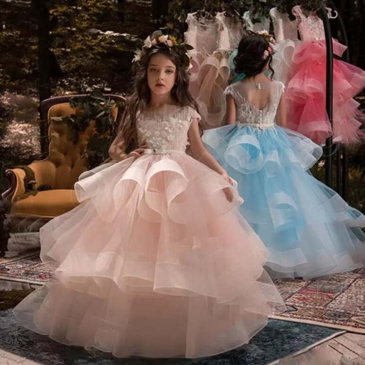Europe and the United States Summer children's wedding Dress Lace Mesh Performance birthday Girl princess Ball Gown Dress 2017 children summer wear girl s printing in europe and the united states foreign trade dress sleeveless flower princess dress