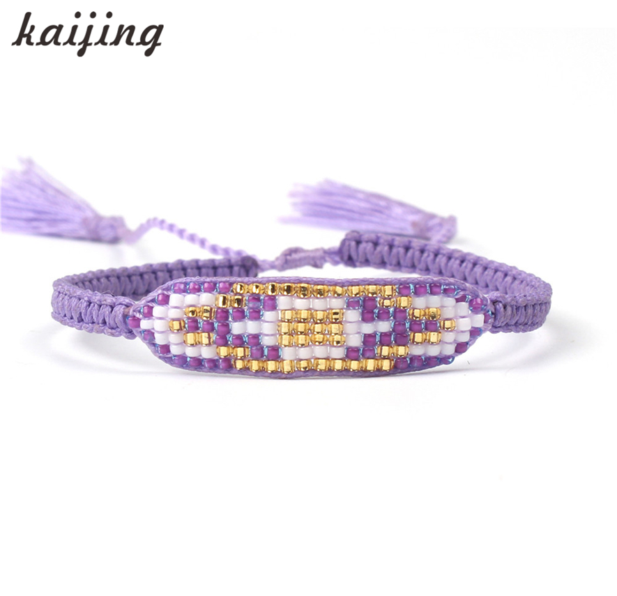 KaIJING Hot Sell Attractive Purple Seed Beaded Charm Bracelets For Women Handmade Double Tassel Beads Friendship