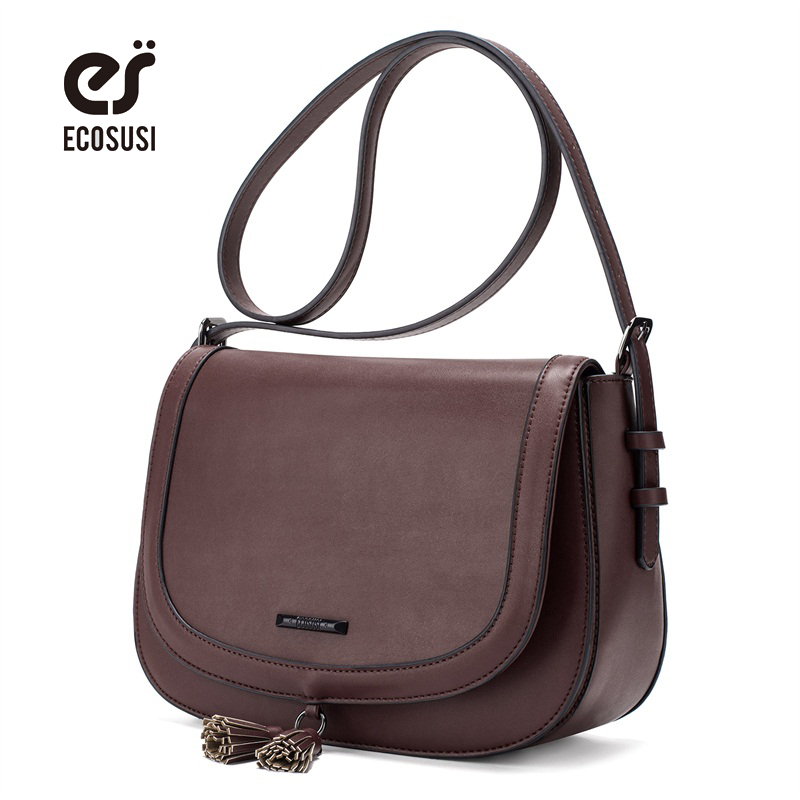 цена ECOSUSI New Women Leather Messenger Bags High Quality PU Leather Women Crossbody Bag With Tassel Female Crossbody Bag Saddle Bag