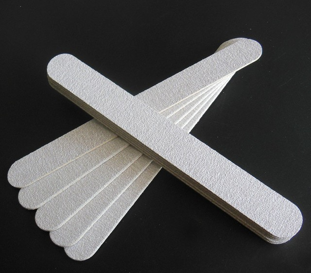 20 pcs zebra wood nail file wooden emery board thin nail file free ...