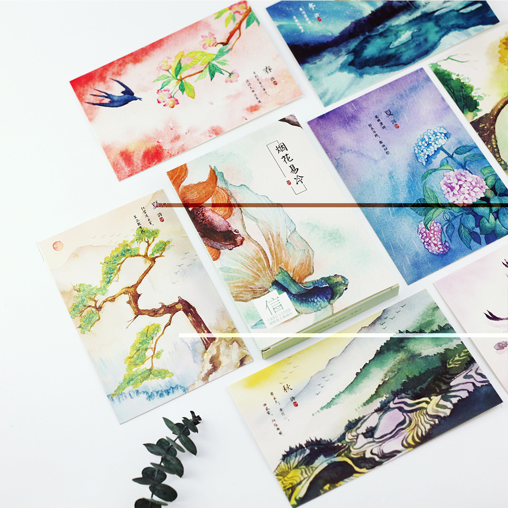 30 Pcs/lot Hand-painted Watercolor Vintage Chinese Landscape Poetry Gift  Stationery  Postcard  School Supplies