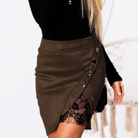 Winter Women Warm Character Pencil Skirt Women Warm Mini Suede Skirts Sexy Lace Floral Splicing High