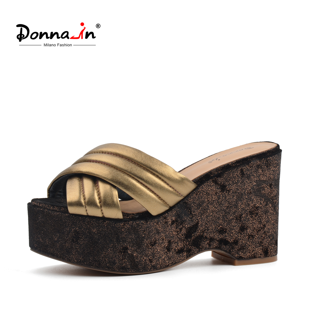 Donna-in 2018 Genuine Leather Women Slippers Platform High Heels Shoes Fashion Golden Blingbling Flip Flops Ladies Shoes