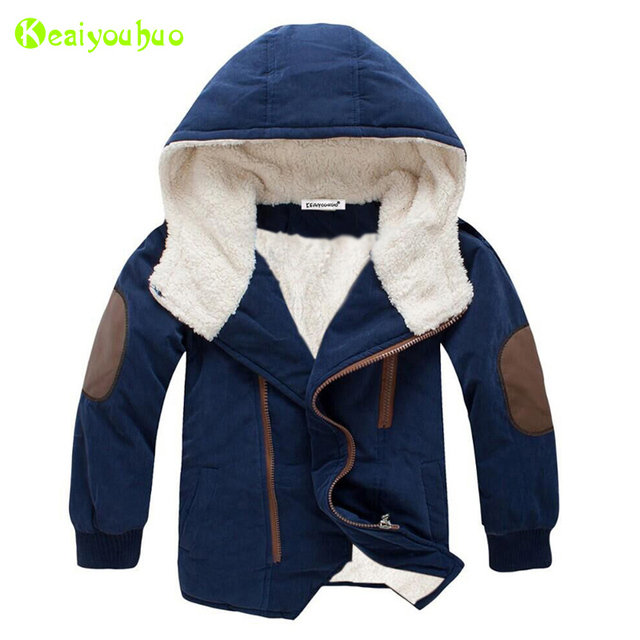 KEAIYOUHUO Children Jacket 2017 Winter Jacket For Boys Jacket Kids Hooded Warm Fur Outerwear Coat For Boys Clothes 10 11 12 Year