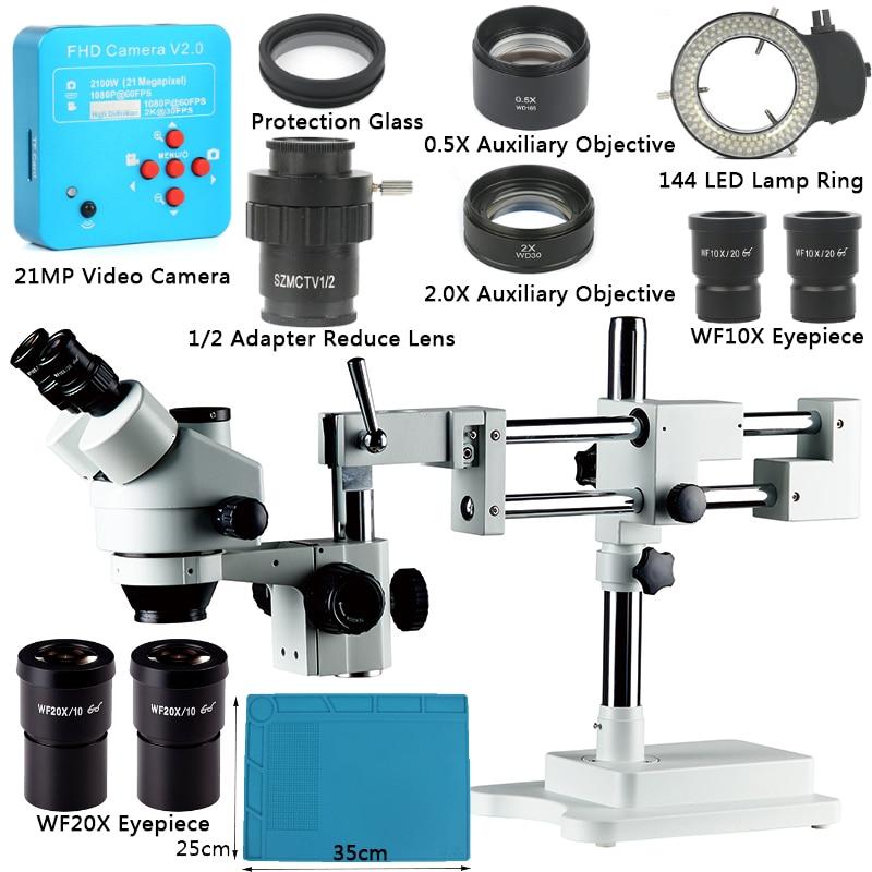 3 5X 90X Simul Focal Double Boom Stand Trinocular Stereo Zoom Microscope 21MP 2K HDMI Camera
