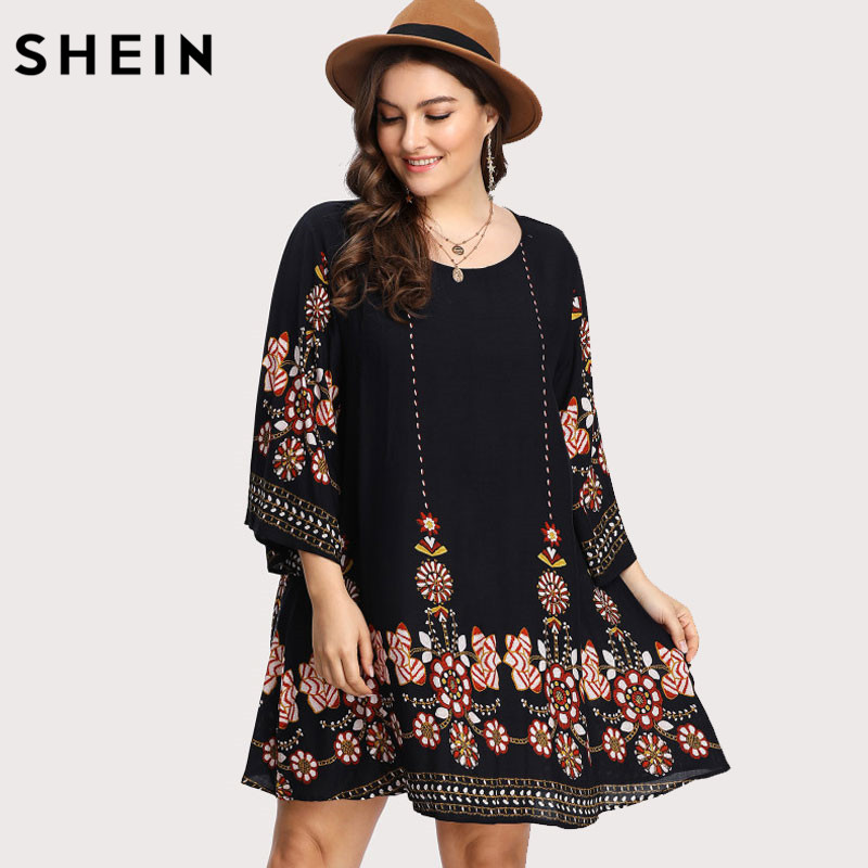 SHEIN Black Plus Size Floral Embroidery Tunic Dress Spring Summer Elegant Large Sizes Tribal Flower Print Vocation Dress 1