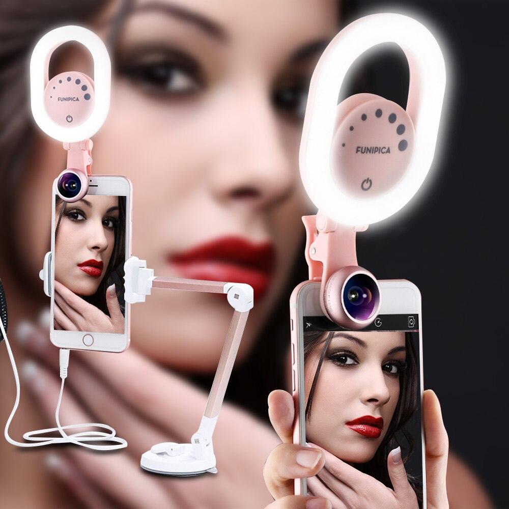 3 in 1 LED Selfie Ring Licht Youtube Schönheit Live-Stream Verbesserung Ring Lampe mit Weitwinkel/Makro Telefon objektiv für iPhone Huawei