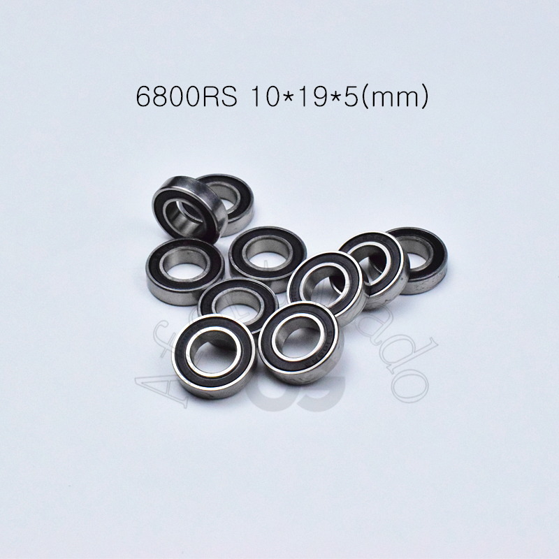 6800RS 10*19*5(mm) 10pieces free shipping bearing ABEC-5 <font><b>6800</b></font> 6800RS chrome steel rubber sealed bearing Thin wall bearing 61800 image