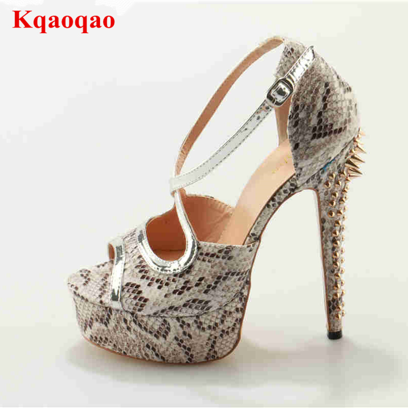 Peep Toe Buckle Design Platform Women Sandals High Thin Heels Sandalia Femme Rivets Embellished Shoes Luxury Brand Runway Shoes luxury brand shoes women peep toe