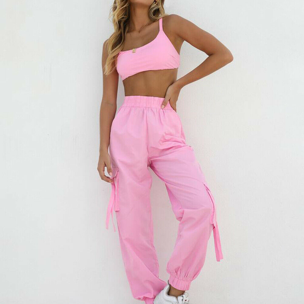2PC Women Fashion Fitness Sleeveless Crop Tops + Pants Leggings Tracksuit Set Workout Sports Gym Running Suit