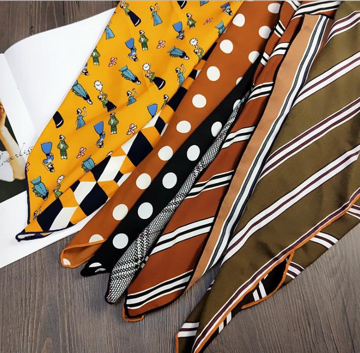 2018 new Satin women silk scarf small squares printing bandana collar little cravat scarves Fashion small Scarve Shawl 50*50cm