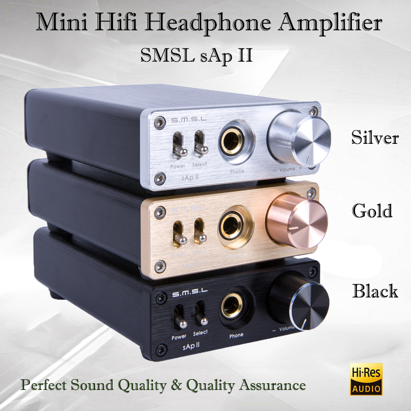 SMSL sAp II Hifi Headphone Amplifier Audio TPA6120A2 Double input Portable Headphone Amp Sound Amplifiers Mini Amplificador smsl sap ii hifi headphone amplifier audio tpa6120a2 portable headphone amp stereo amplifier headphone with 2 ways switch inputs