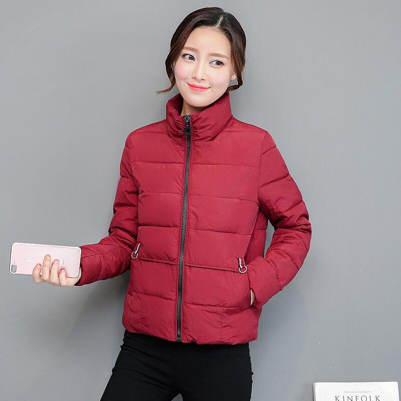 Causal Stand Collar Warm Winter Jacket Women 2018 New Down   Parkas   Cotton Padded Jacket Girls Slim Thick Short Female Jacket Coat