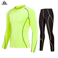 2017 Lidong New Men S Running Sets Long Sleeve Sport Velvet Tights Quickly Dry Training Sets