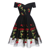 b105696e13 2019 Summer Dress Women Vintage 70s Mexican Ethnic Floral Embroidered Boho  Mini Off Shoulder Party Dress