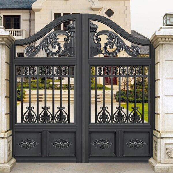 European Design Black Villa Outside Gate Flowers Carving: Sliding Doors Exterior Promotion-Shop For Promotional