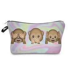 Fashion Female Cute 3 Monkeys Printing Travel Cosmetic Bag Portable Women Zipped Storage Organizer Casual Makeup Bags Popular