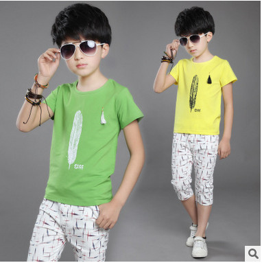 Kids boys short-sleeved suit 2017 new summer children's cotton casual T-shirt big virgin piece shorts boys clothes 3-16 years 2 цена 2016