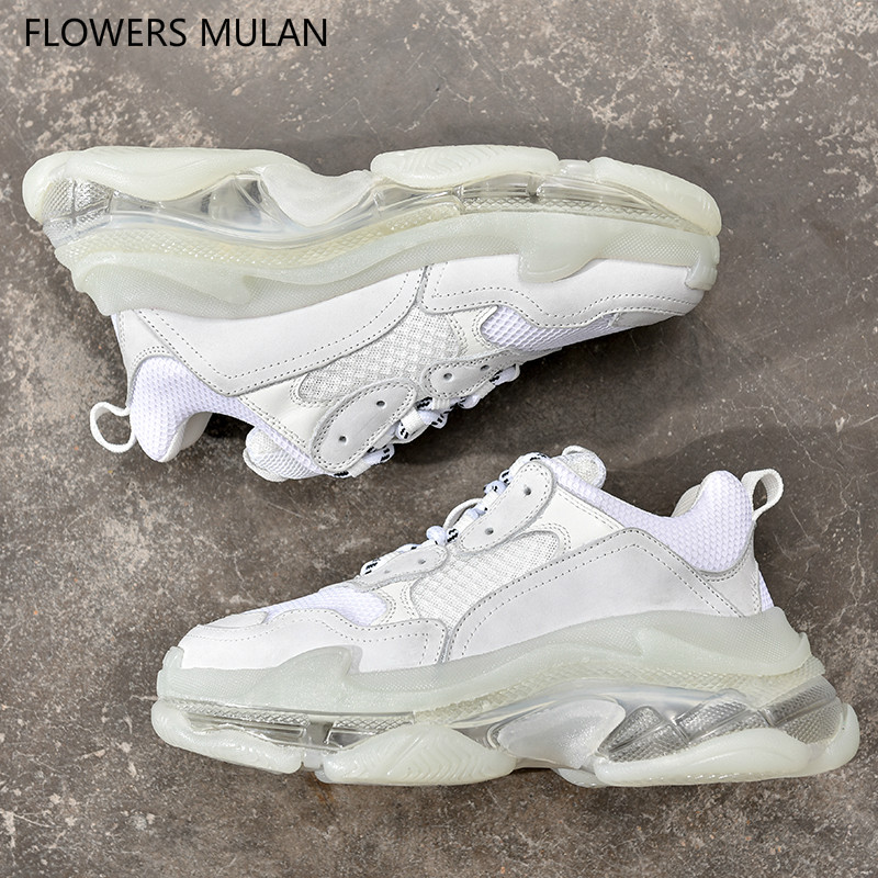 Sapatos quentes Mulher Sneakers Sola Plataforma de Cristal Mulheres Sapatos Lace Up 35-44 Casal Sapatilhas Sapatos Zapatos De Mujer tenis Feminino