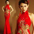 Red china style Mermaid floor length cheongsam lady girl women princess bridesmaid banquet party dress gown free shipping