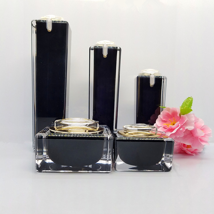 6pcs/lot 15/30/50g Black Empty Jar Bottle For Cosmetic Face Eye Essence Cream 30/50/100ml Makeup Beauty Cleanser Toner Emulsion 10pcs 5g cosmetic empty jar pot eyeshadow makeup face cream container bottle acrylic for creams skin care products makeup tool