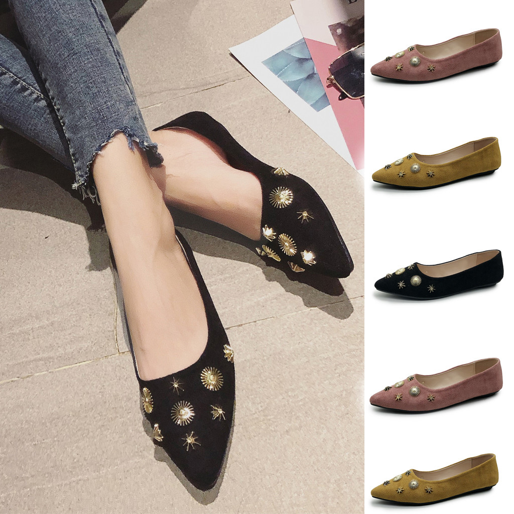 Jaycosin Autumn 2019 Women Girls Solid Big <font><b>Size</b></font> Slip On Solid Color Shallow Comfort Casual Single Shoes July <font><b>15</b></font> P30 image