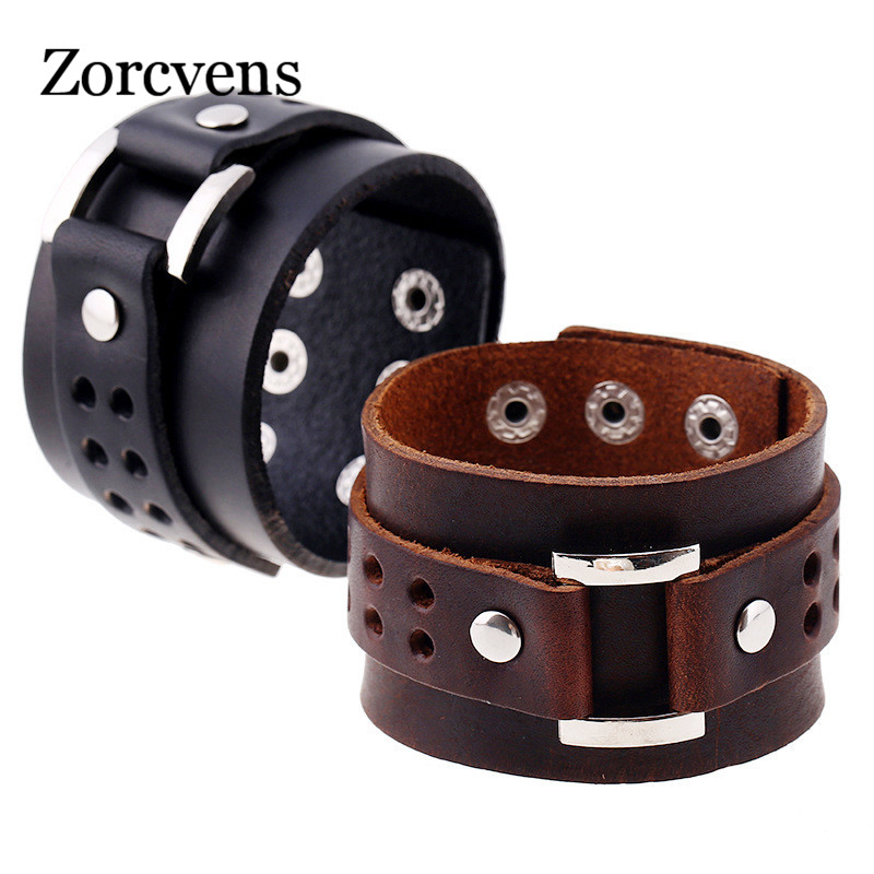 ZORCVENS Double Layer Men Wide Cuff Leather Bracelet Vintage Bracelets & Bangles Fashion Punk Wristband Jewelry Gift Браслет