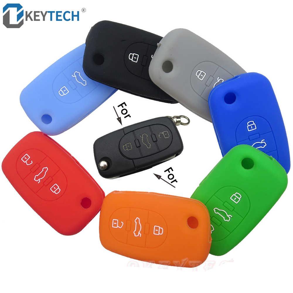 Okeytech 실리콘 자동차 키 케이스 보호대 교체 아우디 a6 c6 c5 a3 a4 b6 b7 b9 b8 a5 a2 원격 플립 floding 키 커버