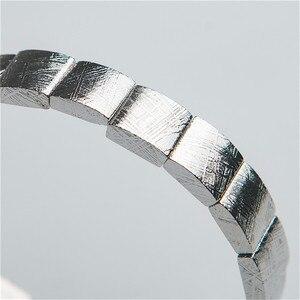 Image 4 - Echte Natürliche Gibeon Eisen Meteorit Silber Überzogene Rechteck Perlen Frauen Mann Armband
