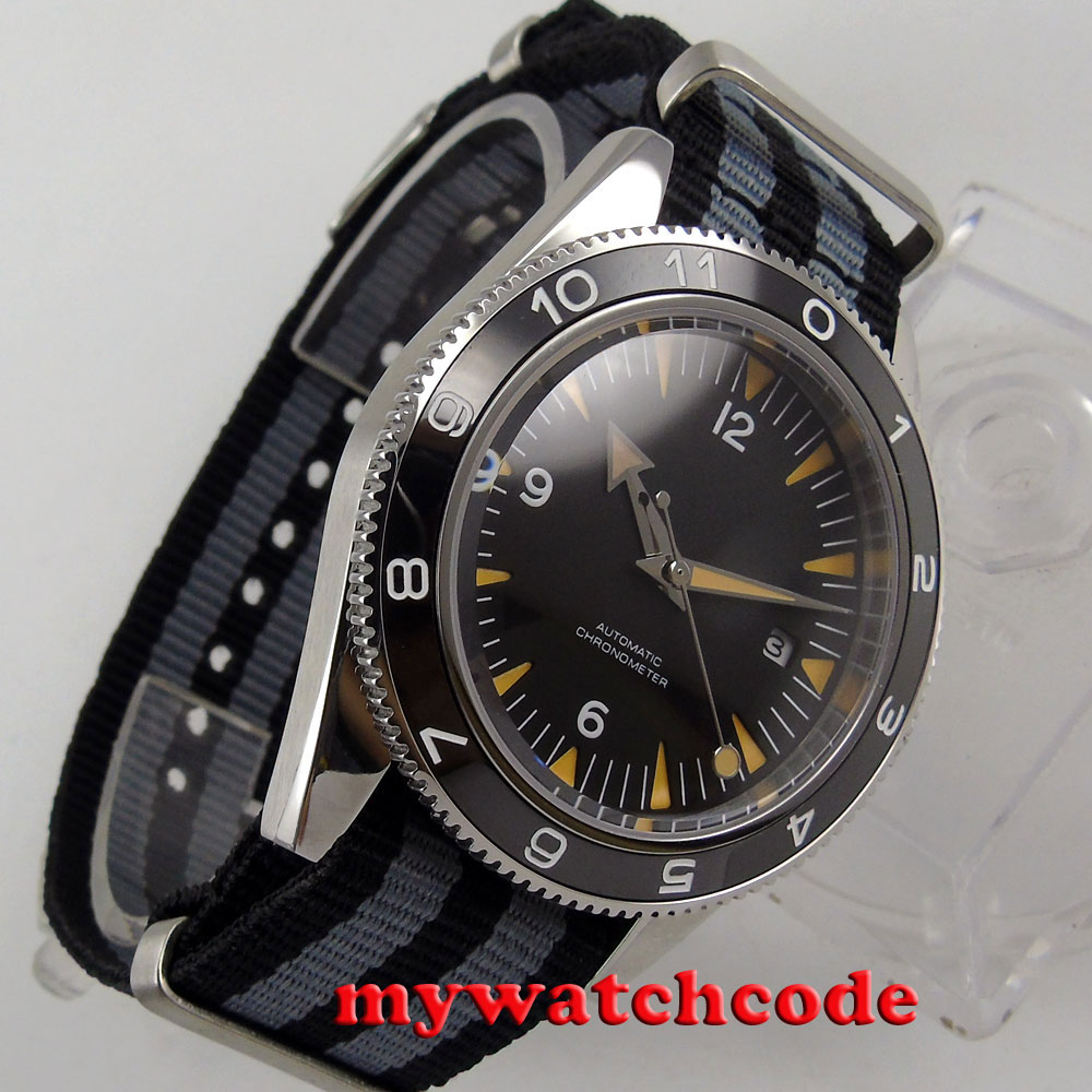 41mm debert black sterile dial luminous ceramic bezel miyota 8215 Automatic mens Watch Luxury Brand Top